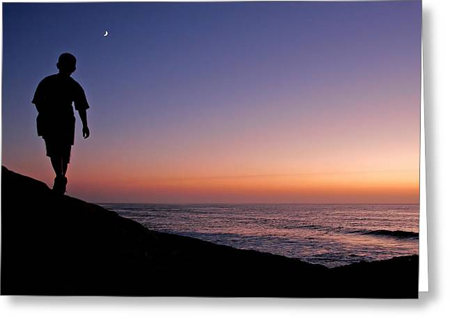 Walking To The Moon Greeting Card by Peter Tellone