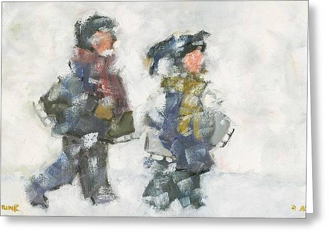Walking To The Rink Greeting Card by David Dossett