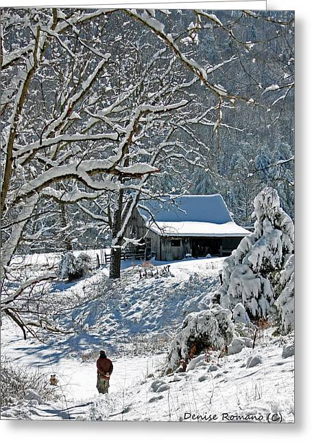Walking Toward The Barn Greeting Card