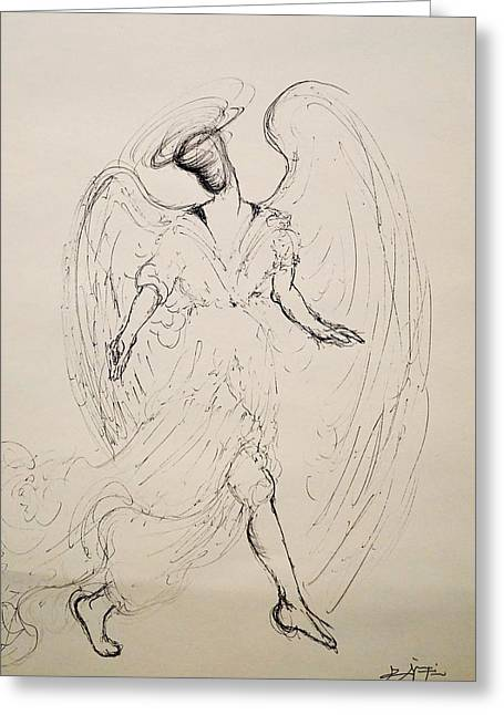 Walking With An Angel Greeting Card