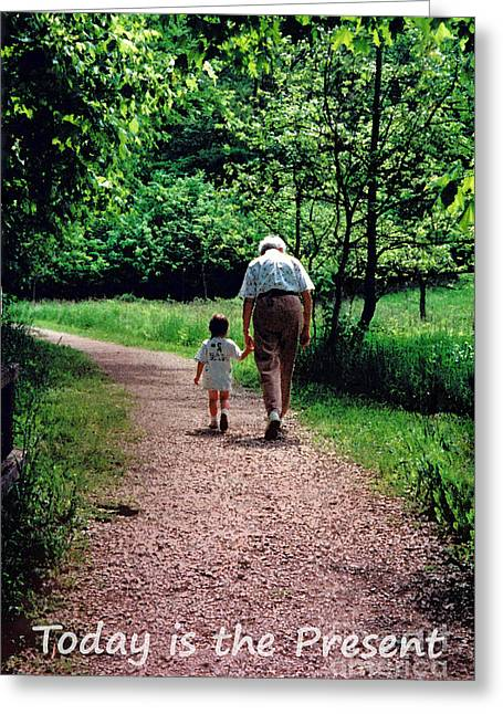 Walking With Grandma Greeting Card