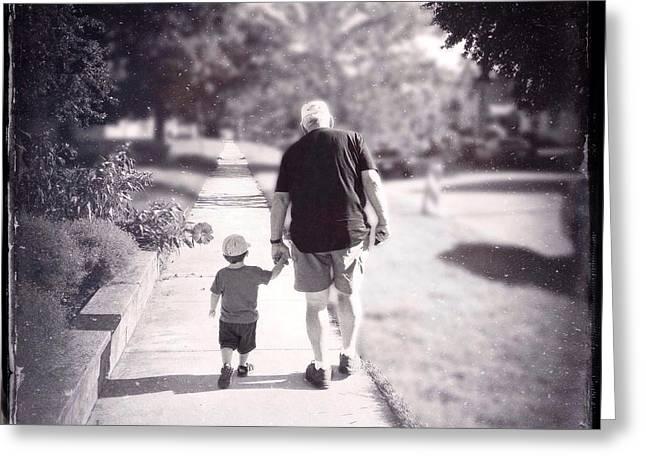 Walking With Grandpa Greeting Card