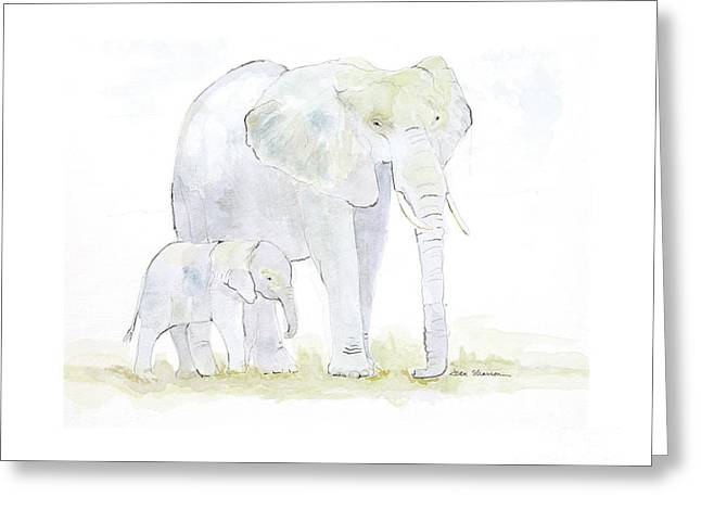 Walking With Mama Greeting Card by Joan Sharron