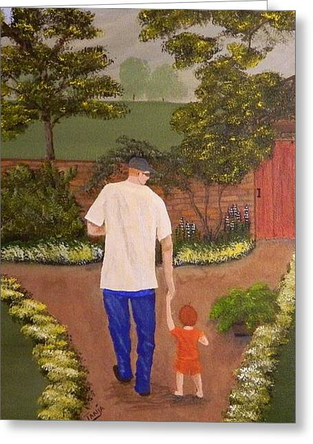 Walking With Papa Greeting Card