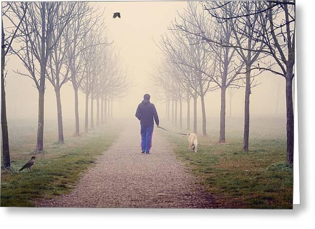 Walking With The Dog Greeting Card by Alfio Finocchiaro