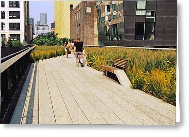 Walkway In A Linear Park, High Line Greeting Card by Panoramic Images