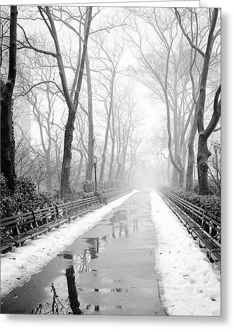 Walkway Snow And Fog Nyc Greeting Card
