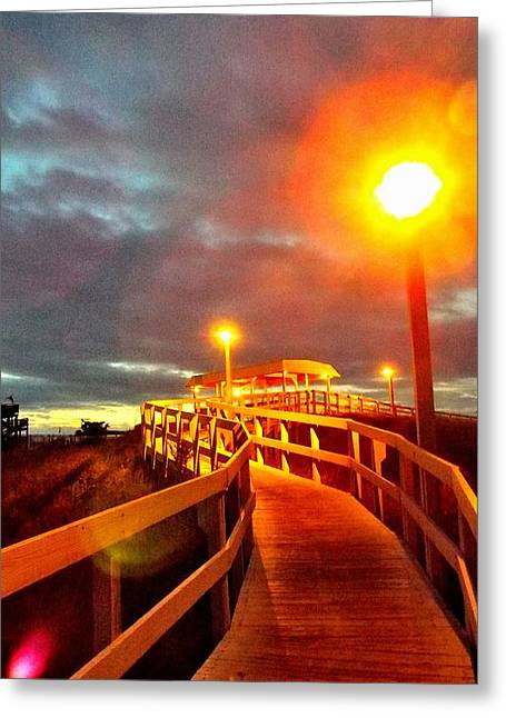 Walkway To Atlantic Greeting Card by Cindy Croal