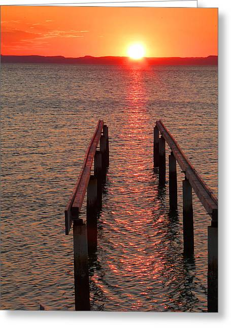 Greeting Card featuring the photograph Walkway To The Sun by Alan Socolik