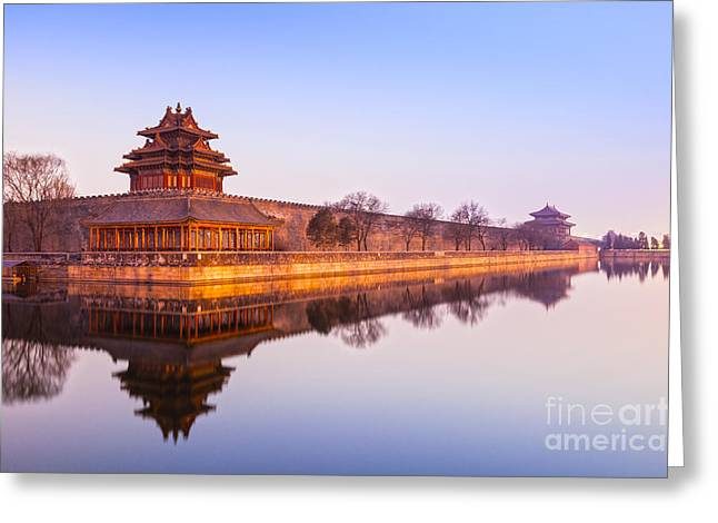 Wall And Moat Forbidden City Beijing Greeting Card by Colin and Linda McKie