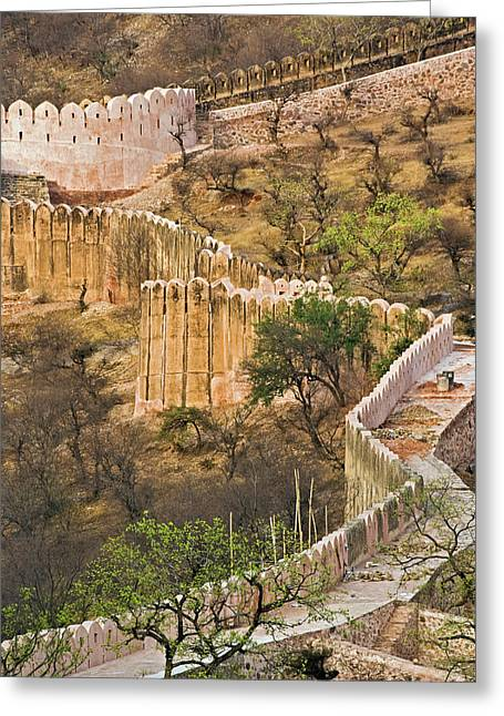 Wall Around Amber Fort, Jaipur, India Greeting Card