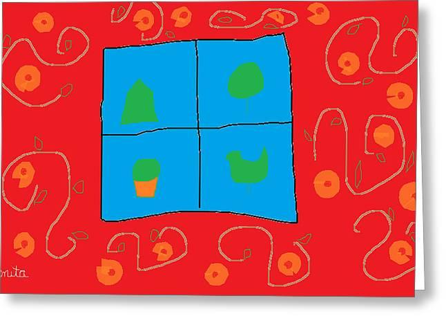 Wall Around The Window Greeting Card by Anita Dale Livaditis
