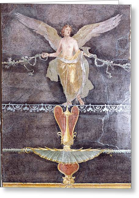 Wall  Fragment With Winged Female Nike On Black Ground Greeting Card
