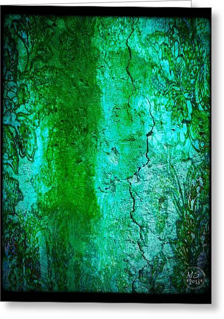 Wall Fresco In Sea Green Greeting Card