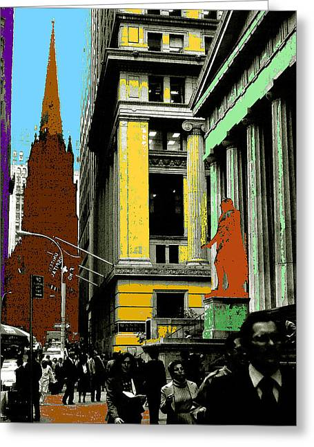 New York Pop Art Blue Green Red Yellow Greeting Card