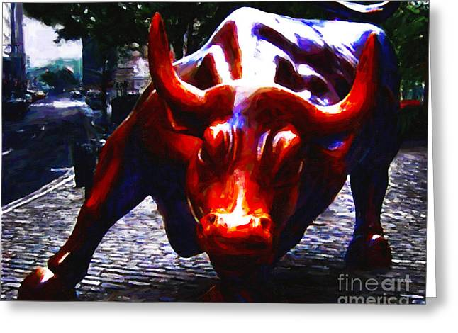 Wall Street Bull - Painterly Greeting Card by Wingsdomain Art and Photography