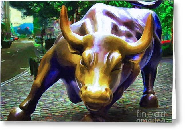 Wall Street Bull V2 Greeting Card