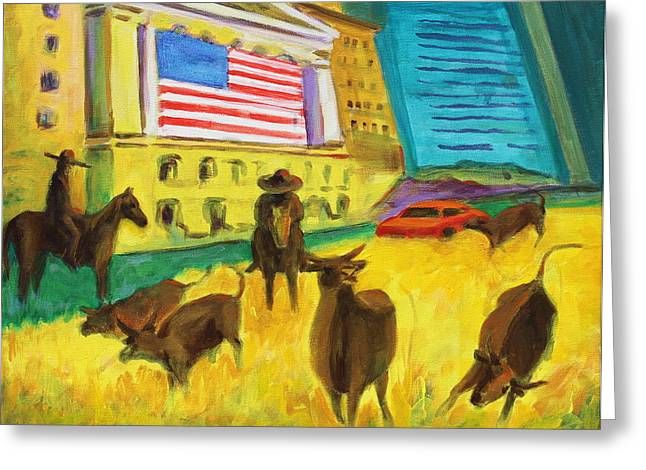 Wall Street Bulls On The Run Painting By Bertram Poole Artist Greeting Card