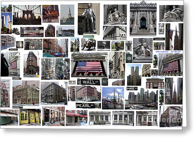 Greeting Card featuring the digital art Wall Street Financial District Collage by Steven Spak
