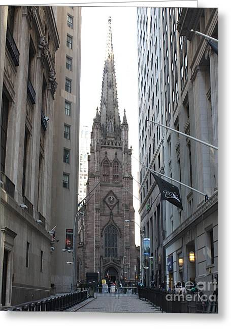 Wall Street Leading To Trinity Church Greeting Card by John Telfer