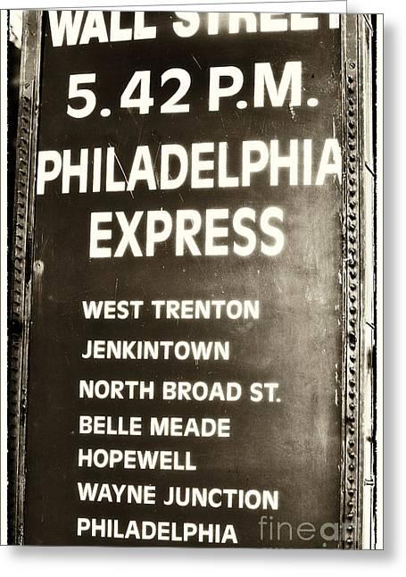 Wall Street Philadelphia Express Greeting Card by John Rizzuto