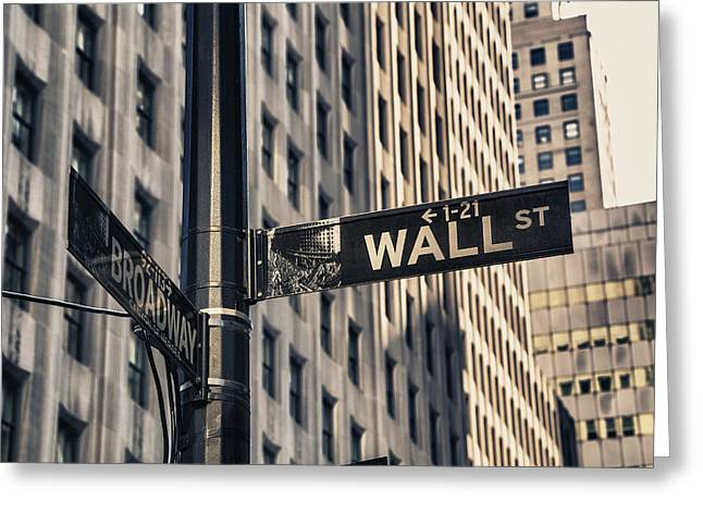 Wall Street Sign Greeting Card by Garry Gay