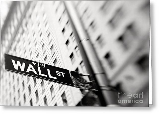 Wall Street Street Sign Greeting Card by Tony Cordoza
