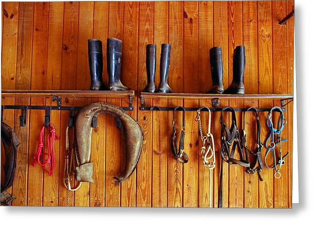 Greeting Card featuring the photograph Wall Tack And Boots by Andy Lawless
