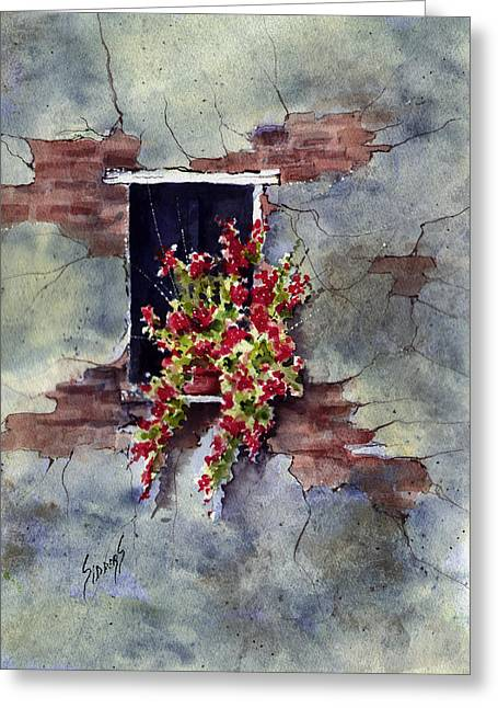 Wall With Red Flowers Greeting Card by Sam Sidders