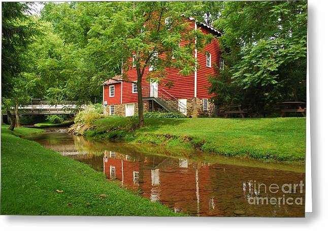 Greeting Card featuring the photograph Wallace Cross Grist Mill Reflections by Bob Sample