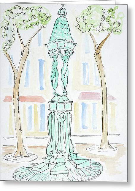 Wallace Fountain On Rue Brea, Paris Greeting Card