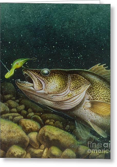 Walleye And Crank Bait Greeting Card by Jon Q Wright