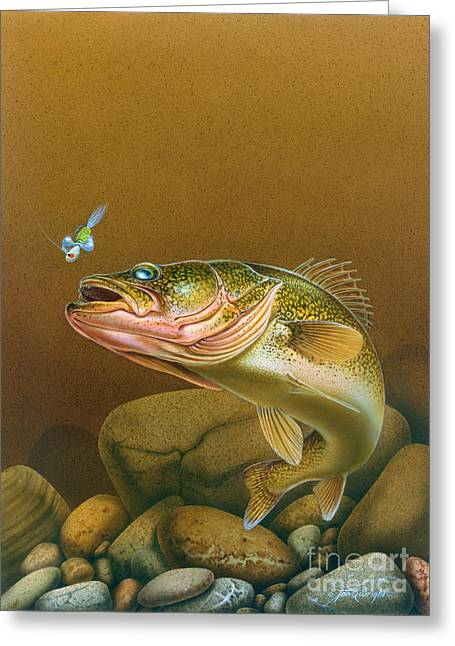 Walleye And Spinner Jig Greeting Card by Jon Q Wright