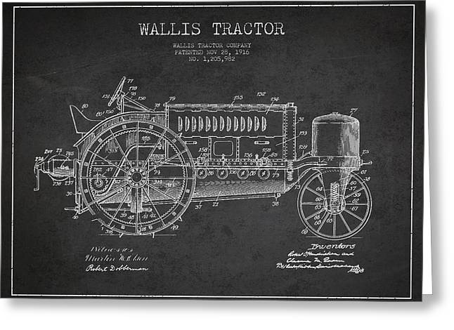 Wallis Tractor Patent Drawing From 1916 - Dark Greeting Card by Aged Pixel