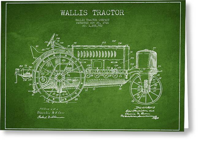 Wallis Tractor Patent Drawing From 1916 - Green Greeting Card by Aged Pixel