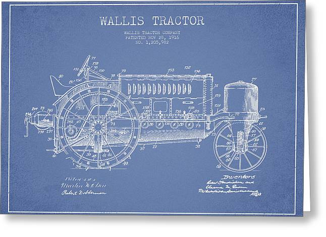 Wallis Tractor Patent Drawing From 1916 - Light Blue Greeting Card by Aged Pixel