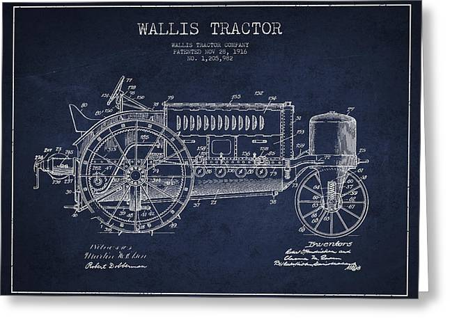 Wallis Tractor Patent Drawing From 1916 - Navy Blue Greeting Card by Aged Pixel