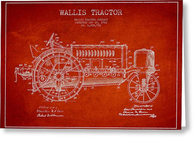 Wallis Tractor Patent Drawing From 1916 - Red Greeting Card by Aged Pixel