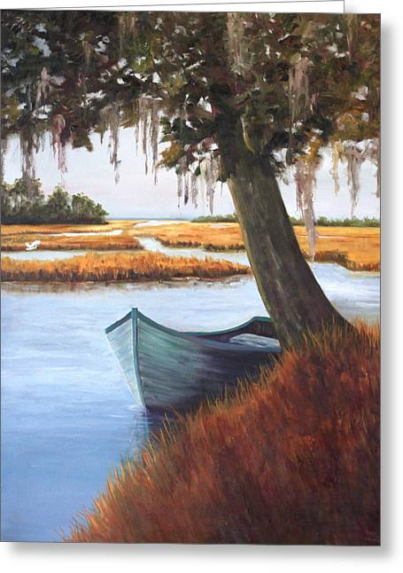 Wallowing In The Marsh Greeting Card by Karen Langley