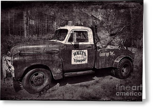 Wally's Towing Bw Greeting Card