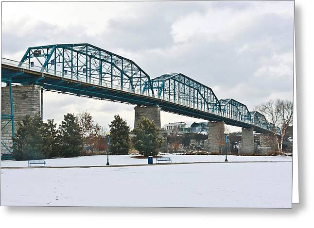 Walnut Street Bridge In The Snow Greeting Card by Tom and Pat Cory