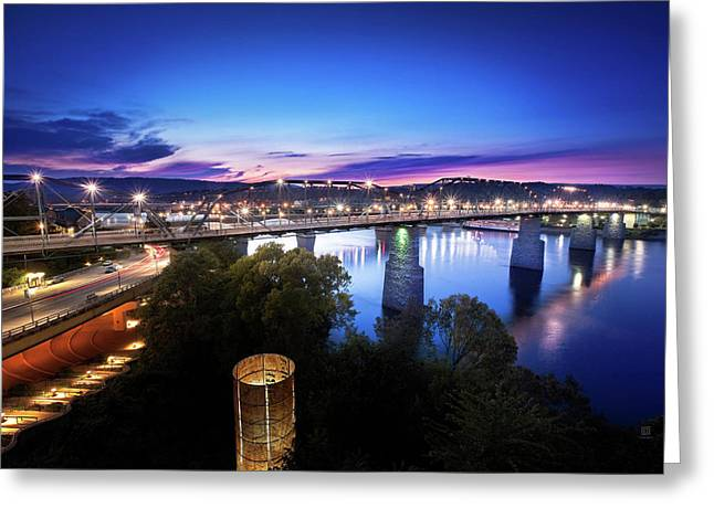 Walnut Street Walking Bridge Bluff View Greeting Card by Steven Llorca