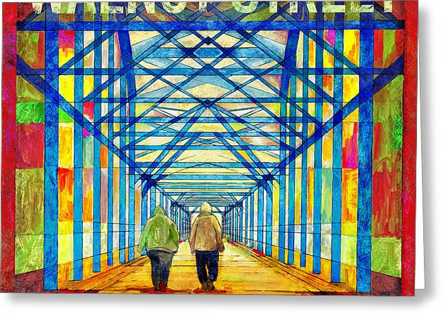 Walkers On The Bridge Poster Greeting Card