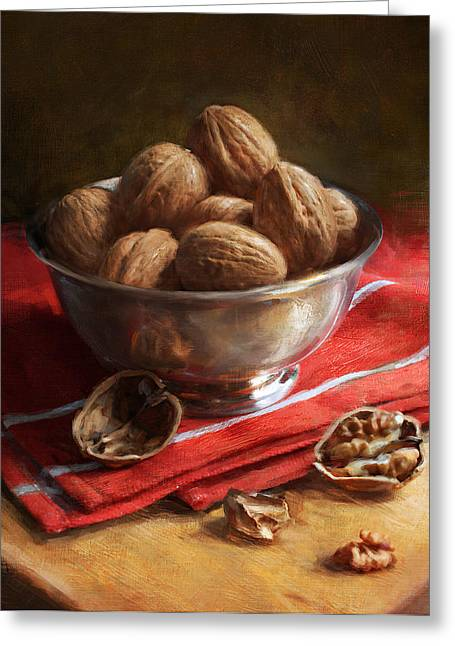 Walnuts On Red Greeting Card by Robert Papp