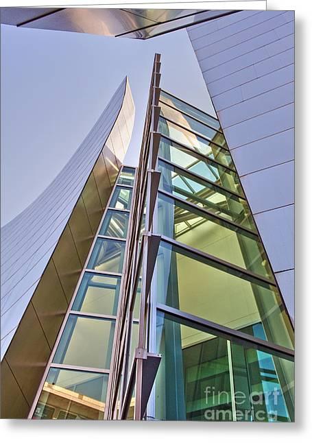 Walt Disney Concert Hall Vertical Exterior Building Frank Gehry Architect 6 Greeting Card by David Zanzinger