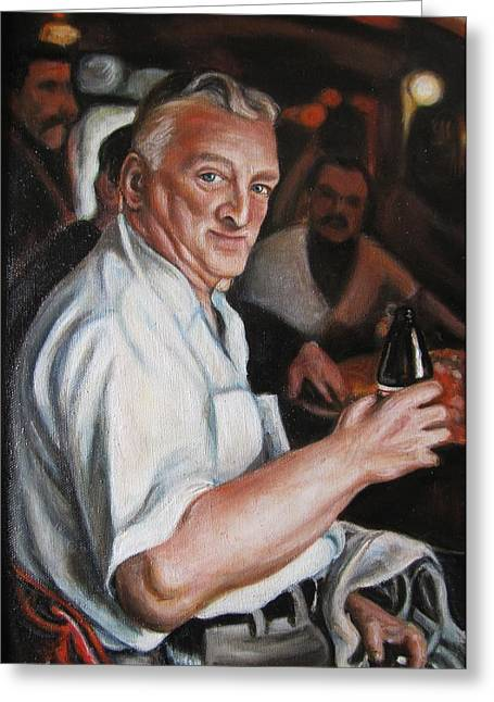 Walter At Eddies Bar Greeting Card by Melinda Saminski