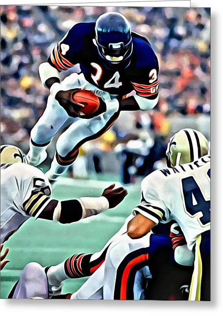 Greeting Card featuring the painting Walter Payton by Florian Rodarte