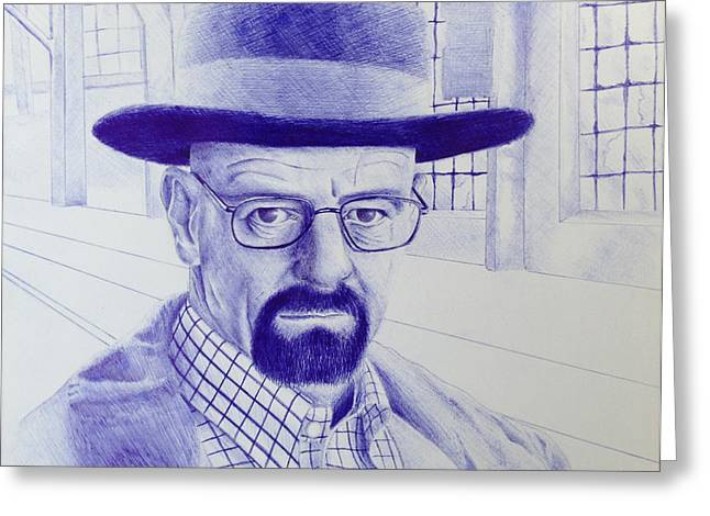 Walter White Pen Drawing From Breaking Bad Greeting Card