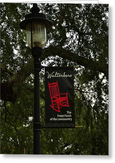 Walterboro Sc Side Walk Banner Greeting Card by Bob Sample