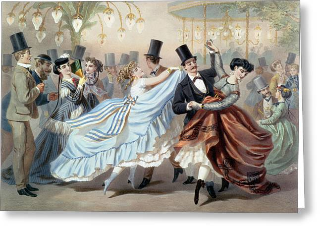 Waltz At The Bal Mabille Avenue Montaigne Paris Greeting Card by Charles Vernier